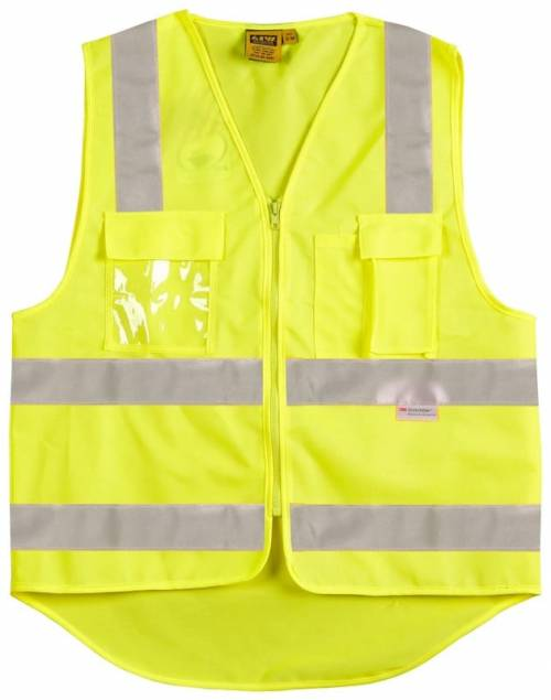 Hi-Vis Safety Vest With ID Pocket & Reflective Tape Zip Front Yellow