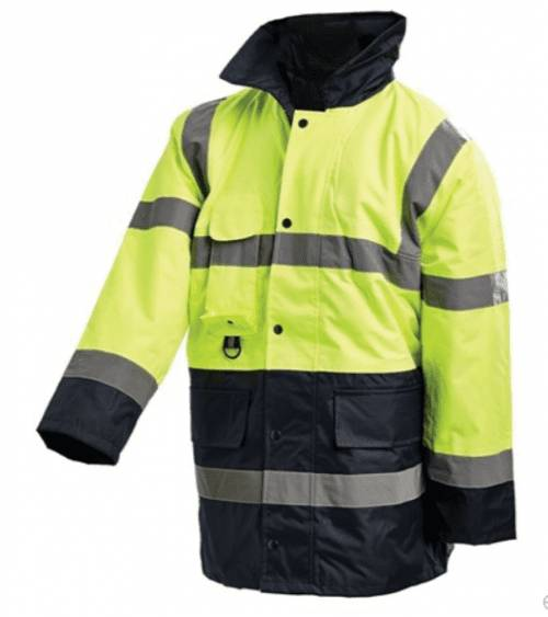 Hi Vis 2-Tone 3/4 Length Wet Weather Jacket with Reflective Tape