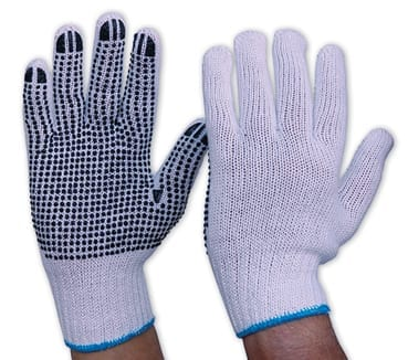 Glove Knitted Poly/Cotton With PVC Dots Mens (Pack of 12)