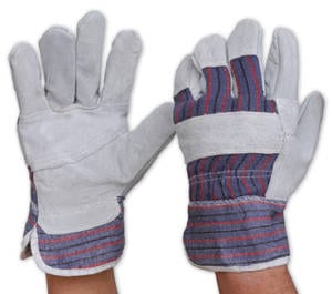 Glove Candy Stripe Cotton Back Leather Palm