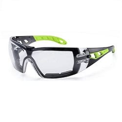 Spectacle Pheos C/W Guard Clear Lens Black/Green