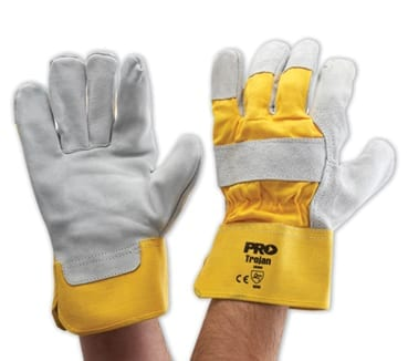 Glove Yellow Cotton Back Leather Palm Heavy Duty (Pack of 12)