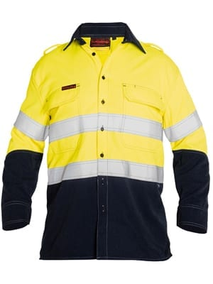 Shirt bisley fr hrc2 hi vis vented with reflective tape for Hi vis shirts with reflective tape