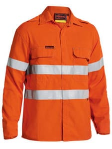 Shirt Bisley Long Sleeve Hi-Vis FR Non Vented With Reflective Tape