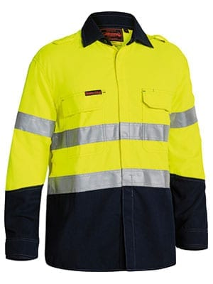 Long Sleeve Shirt Bisley 2 Tone Hi-Vis FR Non Vented With Reflective Tape