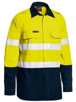 Long Sleeve Shirt Bisley 2 Tone Hi-Vis FR Lightweight Vented With Reflective Tape