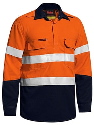 Long Sleeve Shirt Bisley 2 Tone Hi-Vis FR Closed Front Vented With Reflective Tape