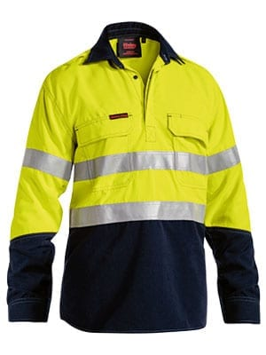 Long Sleeve Shirt Bisley 2 Tone Hi-Vis Closed Front FR HRC2 Vented With Reflective Tape