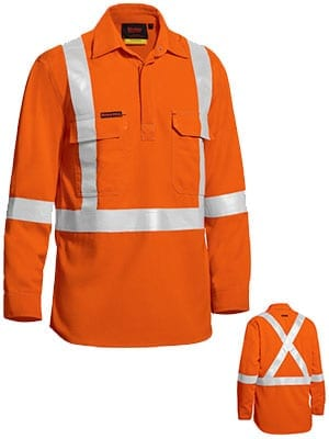 Long Sleeve Shirt Bisley Hi-Vis Closed Front Lightweight FR HRC1 With Reflective Tape