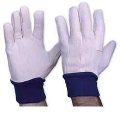 Glove Blue Cuff Cotton Drill Blue Mens