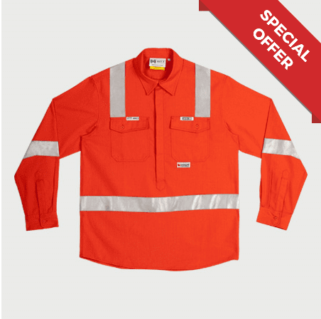 Shirt FR HRC2 (ATPV8) Orange Reflective - Inherent FR Fabric