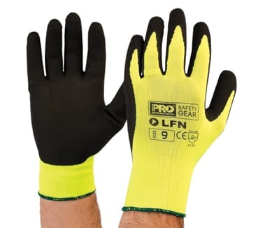 Black Latex Foam Hi Vis Yellow Nylon Liner Gloves (Pack of 12)