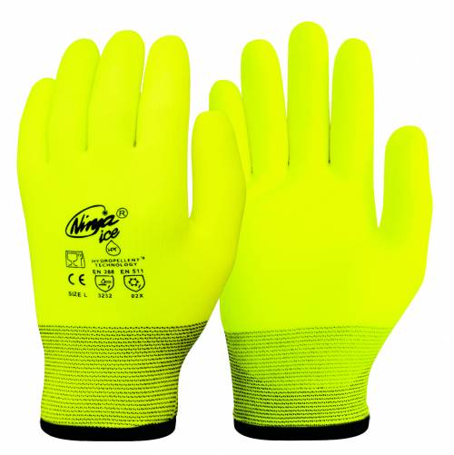 Glove Ninja Ice HPT Foam PVC Hi-Vis Yellow