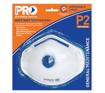 Respirator P2 With Valve 3 Piece Blister Pack
