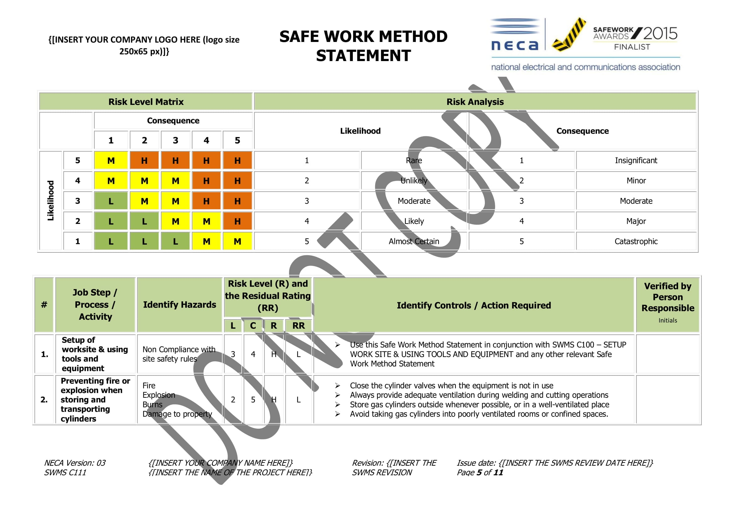 Hot Works Swms Neca Safety Specialists