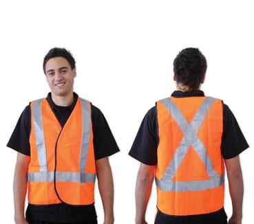 Orange Day/Night Use With X Back Reflective Tape