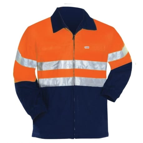 Cotton Safety Jacket Two Tone With Reflective Tape Riggers