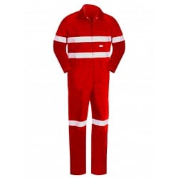 Lightweight Cotton Overall With Hoop Reflective Tape Red