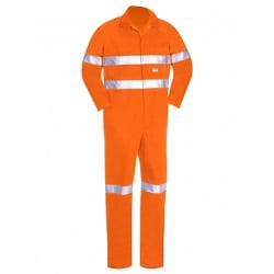 Lightweight Cotton Overall With Hoop Reflective Tape Orange