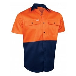 Short Sleeve Cotton Shirt 2 Tone