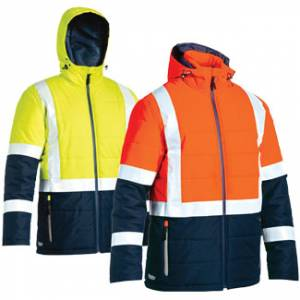 Taped Two Tone Hi-Vis Puffer Jacket