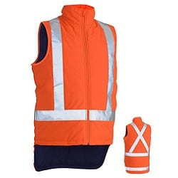 Taped Hi-Vis Puffer Vest With X Back Orange