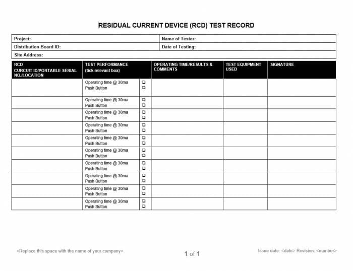 MR 016 Residual Current Device (RCD) Test Record