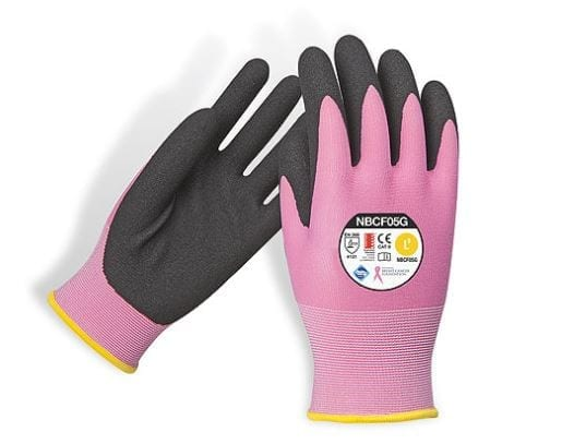 National Breast Cancer Foundation Pink Multi Purpose Synthetic Gloves