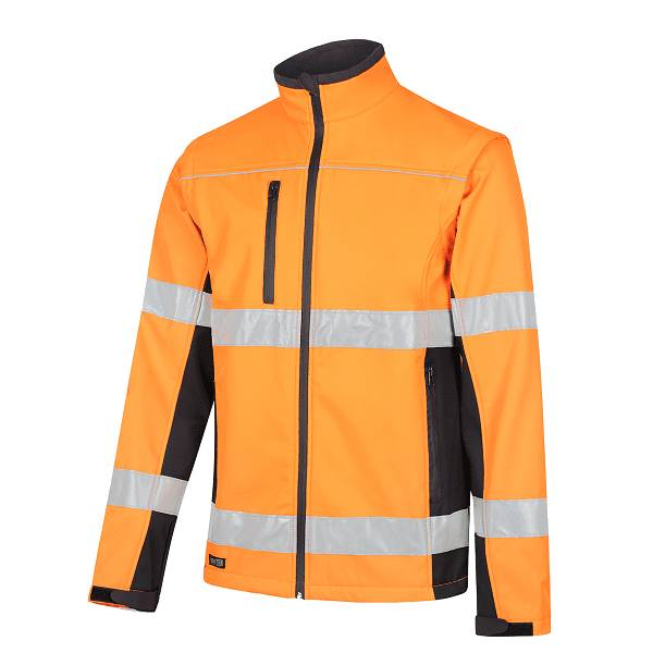 Hi-Vis Soft Shell 2 in 1 Jacket with Detachable Sleeves and Biomotion Reflective Tape