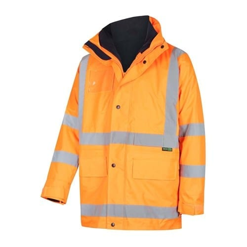 NSW Rail Compliant - WORKIT Hi-Vis 2-Tone 5 in 1 Waterproof Jacket with X-Back Reflective Tape