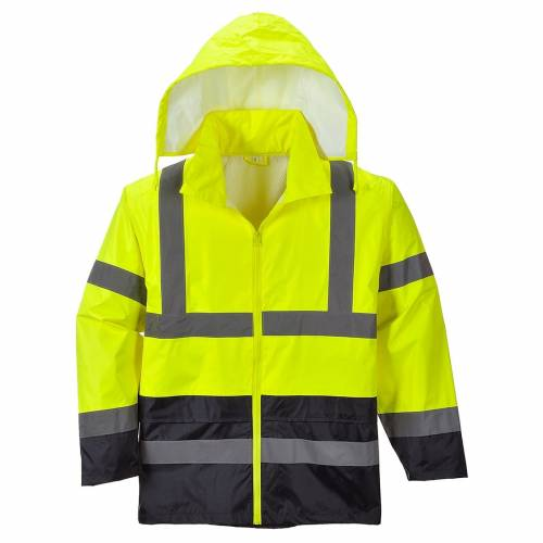 Hi-Vis Contrast Rain Jacket Yellow with Hood