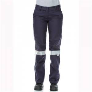 Ladies Cotton Drill Navy Work Pants - Reflective Tape