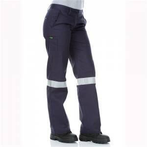 Cotton Drill Cargo Pants With Reflective Tape