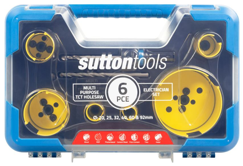 Electricians 6 PCE hole saw kit Sutton tools